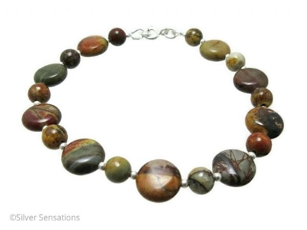 Burgundy, Browns & Golds, Picasso Jasper Coins & Sterling Silver Beads Bracelet | Silver Sensations